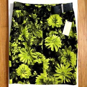 Michael Kors Neon Green and Black Pencil Skirt